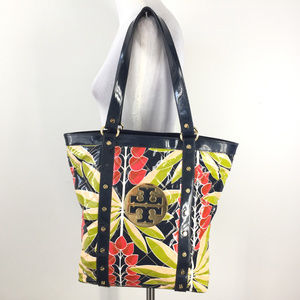 Tory burch Betty Tote Navy Blue Red Floral Logo